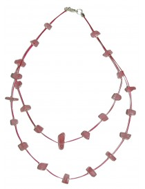 Collier baroque Quartz Rose 2 rangs