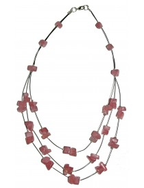 Collier baroque Quartz Rose 3 rangs
