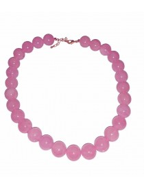 Colliers billes 14 mm en Quartz Rose