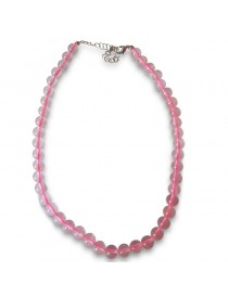 Colliers billes 8 mm en Quartz Rose